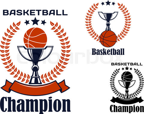 Basketball champion emblems with balls and trophies