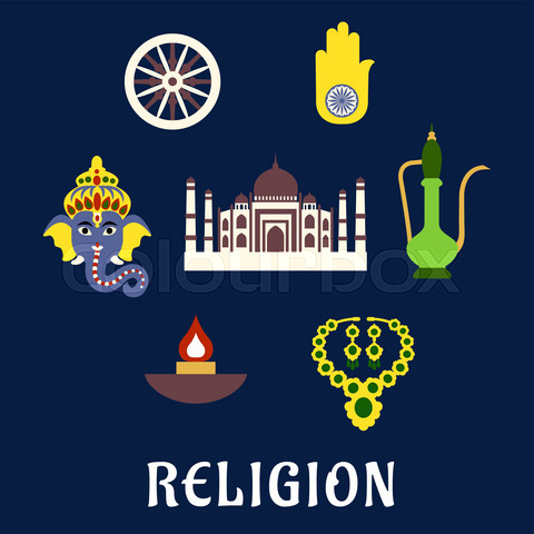 Indian religion and culture flat symbols