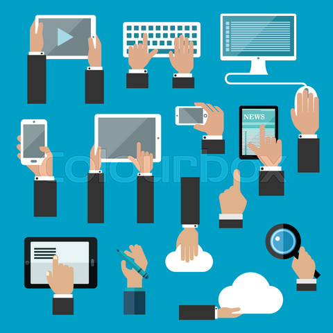 Hands icons with digital devices