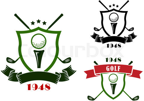 Golf emblems with shields, balls and clubs