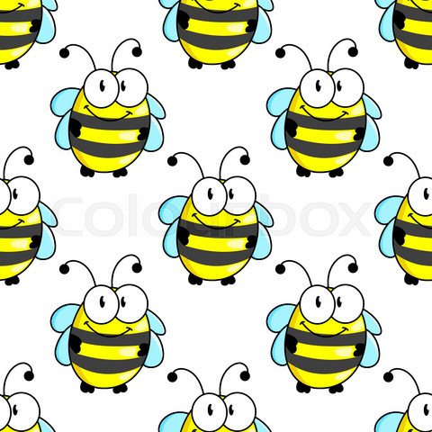 Cartoon bee with tiny wings seamless pattern