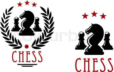 Chess tournament emblems with knights and pawns