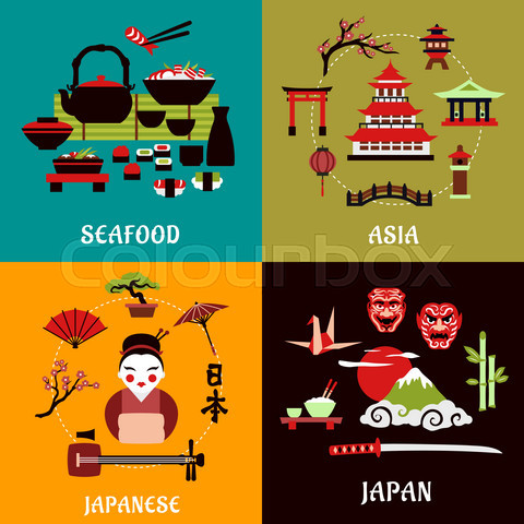Japanese culture, history and cuisine designs