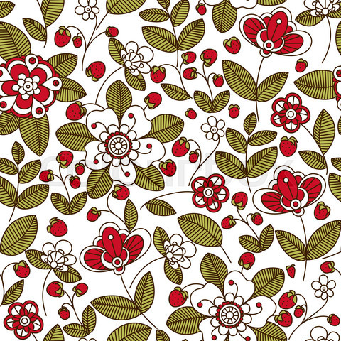Strawberry with white and red flowers seamless pattern