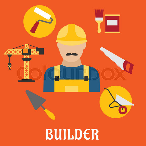 Builder with flat tools icons
