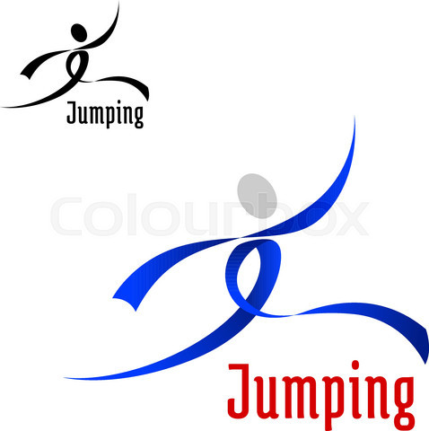 Sports abstract emblem with jumping athlete