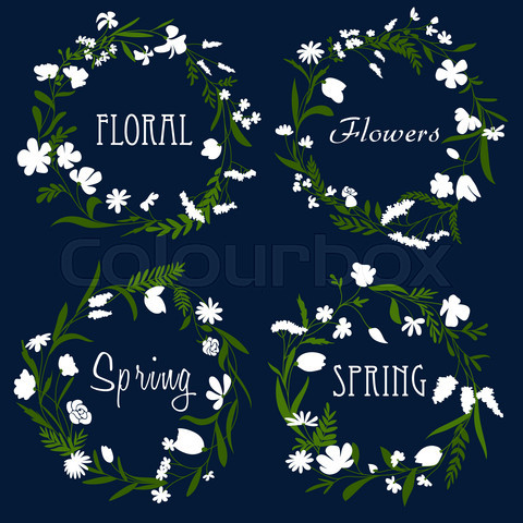 Wreaths with white flowers and herbs
