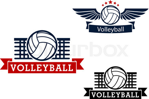 Volleyball emblems with game items
