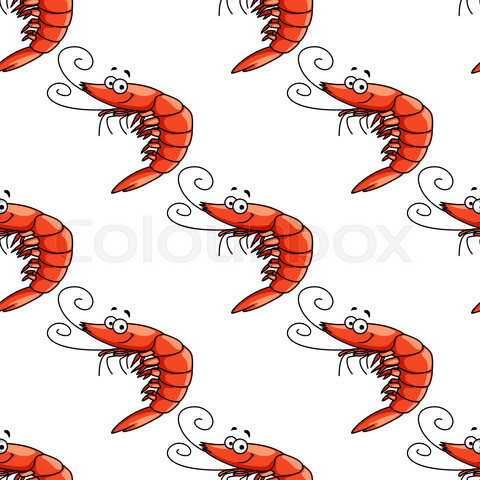 Cartoon red shrimps seamless pattern