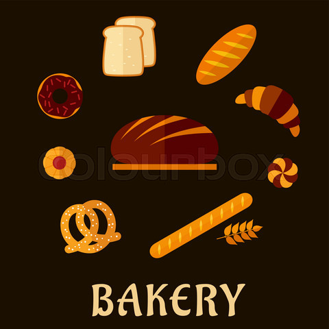 Bakery flat icons with breads and pastry