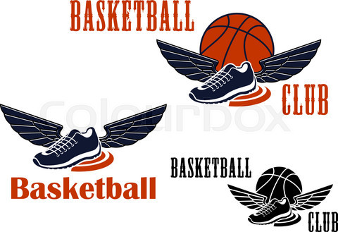 Basketball icons with winged sneakers and balls