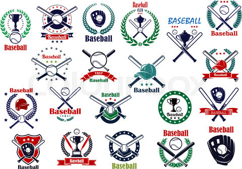 Baseball game sporting emblems and icons