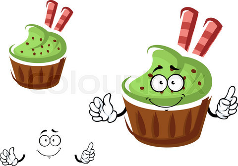 Cupcake character with cream and waffle rolls