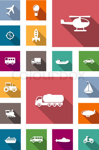 Transportation flat icons with shadows
