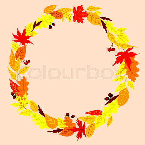 Autumn wreath with leaves, acorns and rowanberry