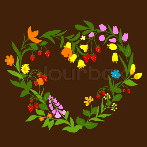 Floral heart with flowers and berries