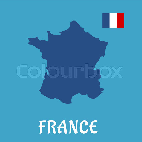 Map and flag of France flat icons