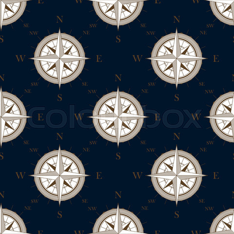 Vintage compass seamless pattern background