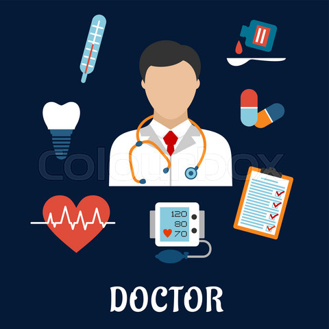 Flat medical icons with a doctor