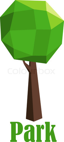 Park icon with polygonal green tree