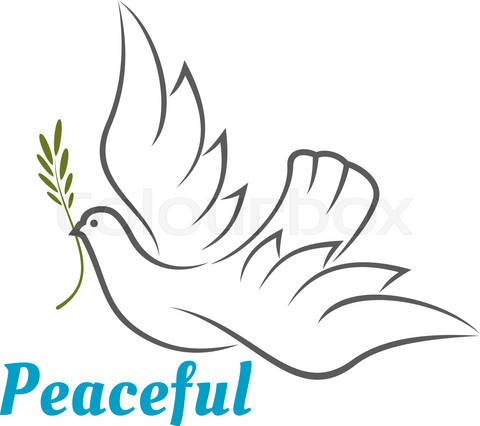 Flying white dove with olive branch