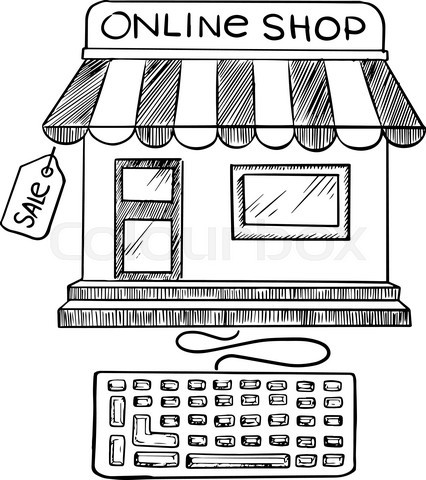 Online shopping and store icon sketch