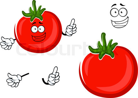 Red ripe tomato vegetable character