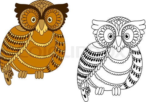 Colorful and outline doodle owl