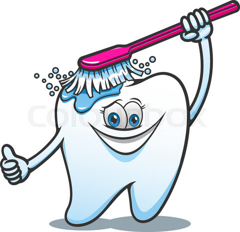 Cartoon happy tooth with brush