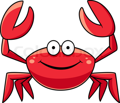 Happy red marine crab with big claws