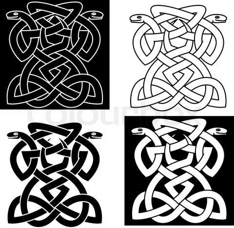 Intricate intertwined snakes emblem