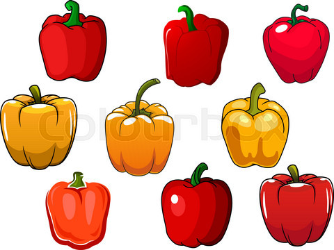 Red and yellow bell peppers vegetables