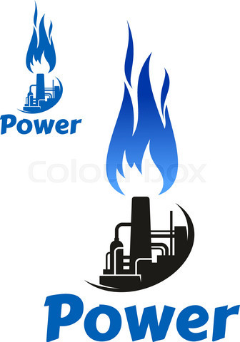 Oil refinery factory and blue flame icon
