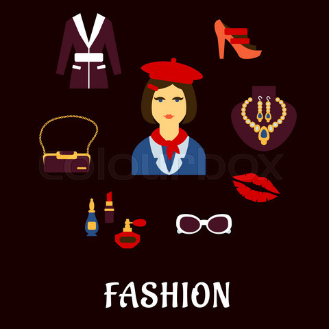 Fashion icons with accessories and jewelries