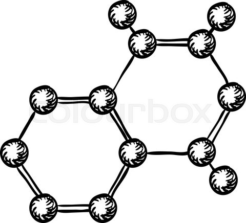 Sketch of molecular model with atoms and bonds