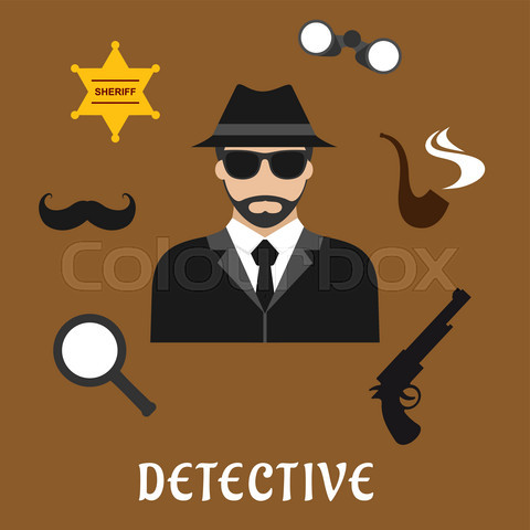 Detective and spy profession flat icons