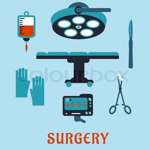 Surgery flat icons with operating room