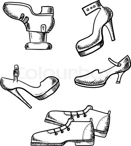 Male boots and female high heeled shoes