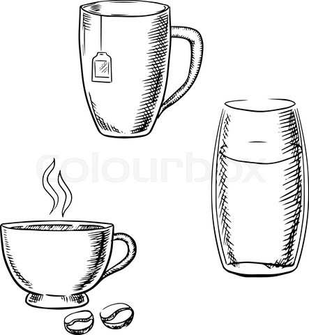 Cup of coffee, tea and glass of water sketches
