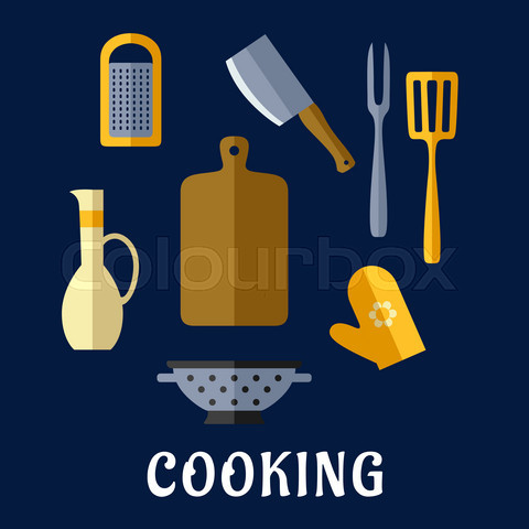 Food utensils and kitchenware flat icons