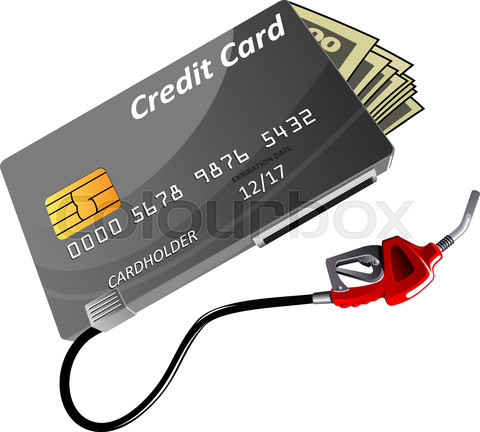 Bank credit card, money and gas nozzle