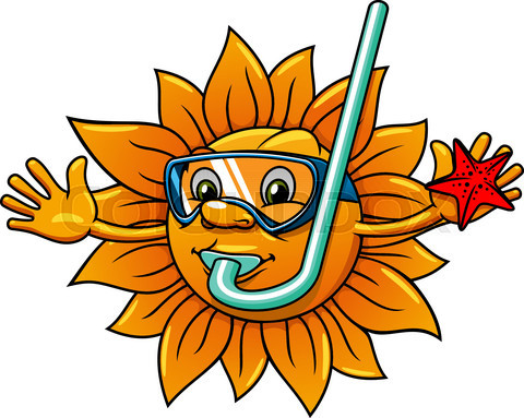 Cartoon sun in diving mask with starfish