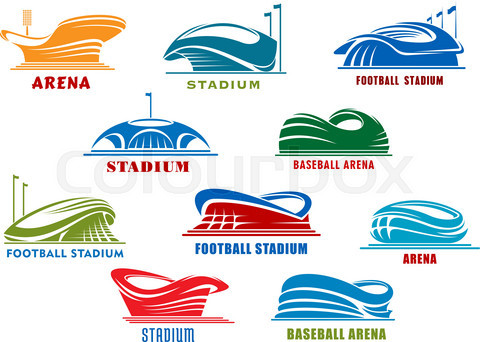 Stadiums and sport arenas abstract icons