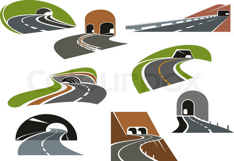 Road tunnels icons for transportation design