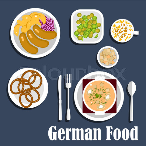German cuisine soup, salads and snacks