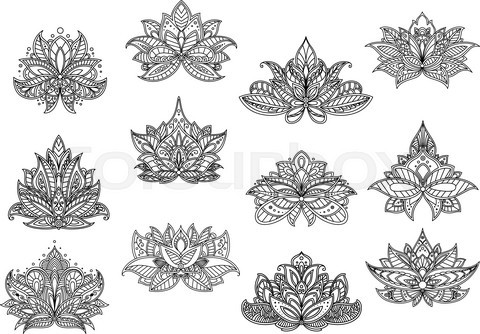 Indian paisley flowers with lace ornaments