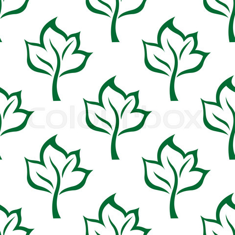 Seamless maple green leaves pattern