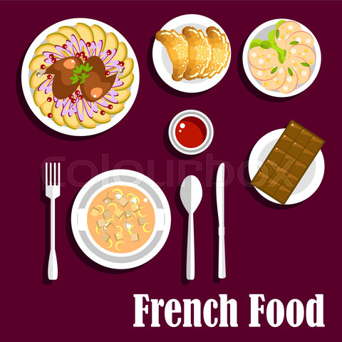 French cuisine food with croissants and chocolate