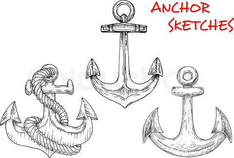 Sketches of ancient marine anchors with rope