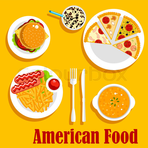 Fast food lunch of american cuisine flat icon